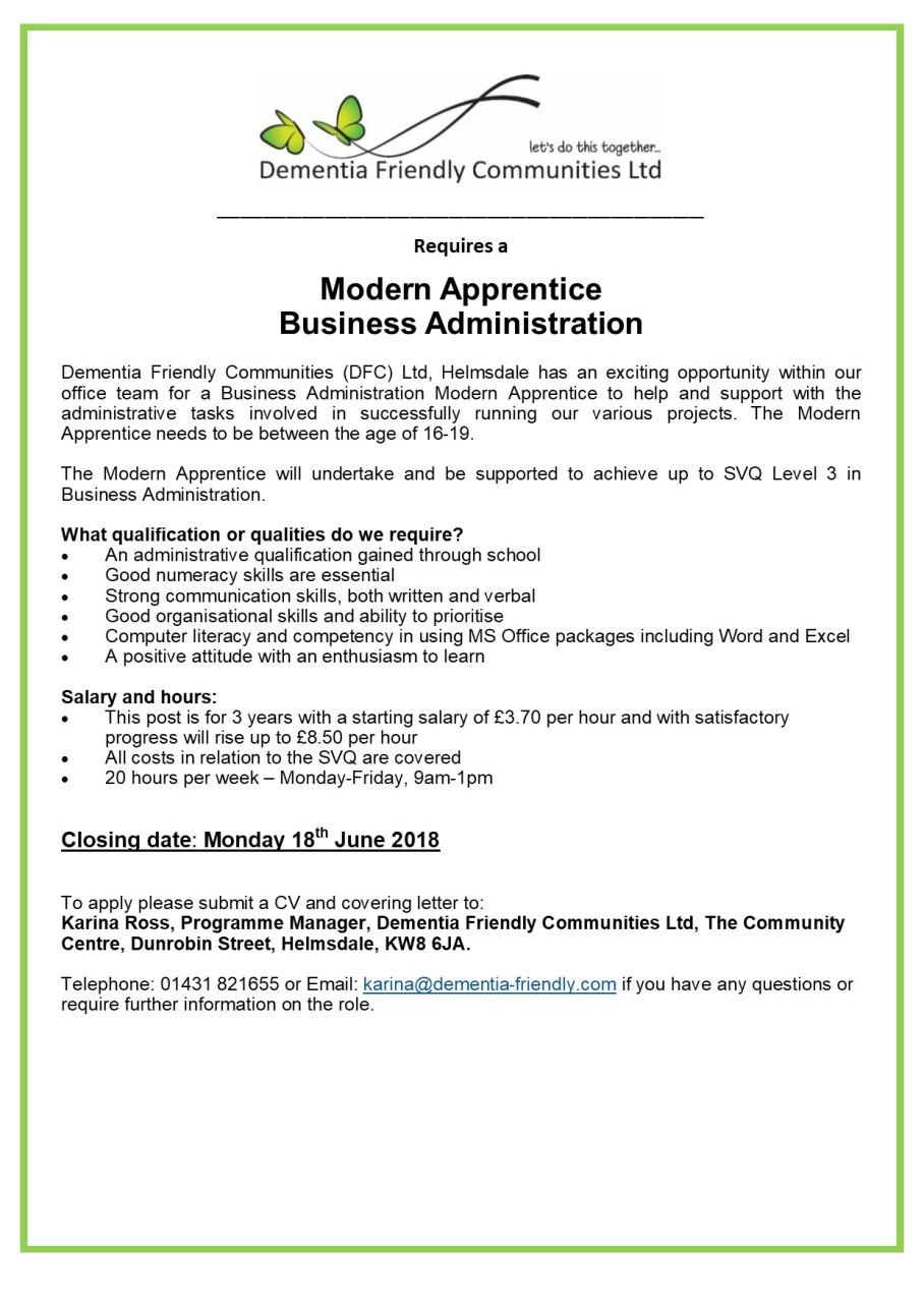 DFC Helmsdale Modern Apprentice Advert