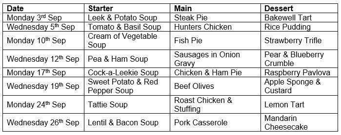 September 18 Helmsdale menu